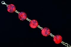 Арт.01 красный - браслет с 5 круглыми элементами диам.1,8см муранское стекло