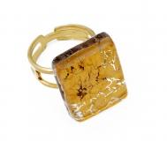 Арт.01 золотой - кольцо 1,5x2 муранское стекло