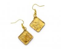 Арт.01 золотой - серьги 1,5x1,5 на швензе/дужке муранское стекло