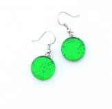 Арт. 02 зеленый - серьги круглые 1,5см на швензе/дужке муранское стекло
