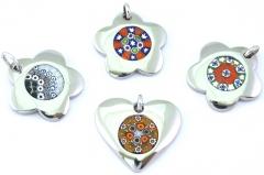 AA/CO111-113 Кулон сердце и цветок, сталь Inox и муранское стекло