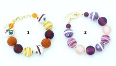 2016-50/maz Браслет Багатель цвет бежевый и сиреневый муранское стекло