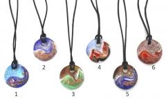 VB26 Подвеска круглая Аляска на атласном шнуре 6 цветов муранское стекло