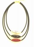 2017-52 Колье Трио с авентуриновым узором на каучуке 40 см муранское стекло
