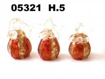 05321 Ангелы стеклянные красно-золотые 4,5см сет 6шт