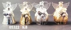 05322 Ангел стеклянный 8 см цвет золото и серебро
