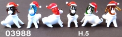 03988 Собаки стеклянные в новогодних шапочках сет 6 шт
