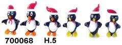 700068 Пингвин стеклянный в шарфе и шапочке сет 6 шт