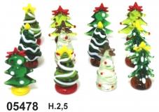 05478 Елки новогодние стеклянные 2,5см сет 12 шт