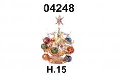 04248 Елка стеклянная золотая с новогодними шарами 15 см