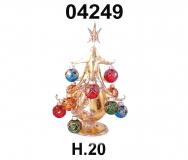 04249 Елка стеклянная золотая с новогодними шарами 20 см