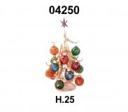 04250 Елка стеклянная золотая с новогодними шарами 25 см