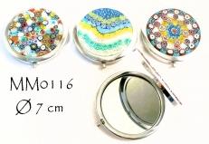 MM0116 Зеркальце карманное с крышкой, декорированной муранским стеклом