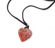 VM0250  Подвеска Сердце на алькантаре в подарочной коробке муранское стекло