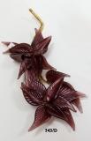 543/D  Декор. композиция  двойной цветок (дл. 19см) муранское стекло