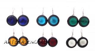 RS01-O Серьги круглые с серебром различные цвета муранское стекло
