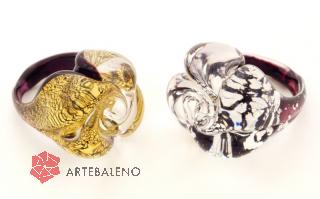NV32 Кольцо Роза маленькое цвет золото и серебро муранское стекло