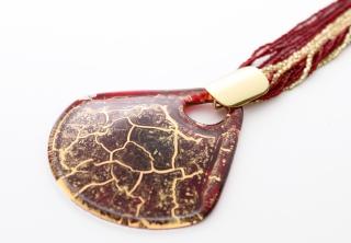NV04 Подвеска Бонди' веер диам.8см цвет красно-золотой