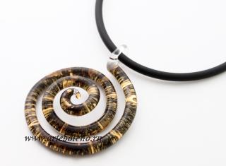 NV01 Подвеска Спираль Бонди' диам.5,5 см цвет черно-золотой