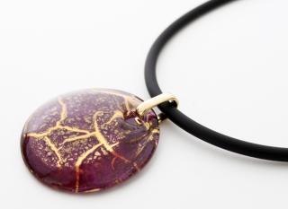 NV04 Подвеска Бонди' диаметр 5см цвет красно-золотой муранское стекло