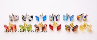 Запонки 1,5х1,5 12 цветов муранское стекло