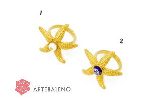 art.258 Кольцо Морская звезда с мурринами муранское стекло