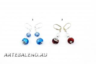 2012-48/maz Серьги 2 бусины, 2 цвета муранское стекло