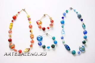 2012-51/maz Колье+браслет 70 см трансформер-2 застежки, 2 цвета муранское стекло