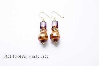 2012-33/maz Серьги 2 бусины золото-аметист муранское стекло