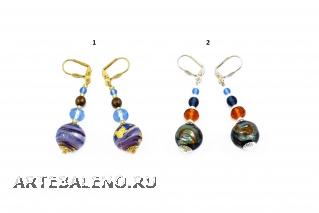 2012-24/maz Серьги 2 цвета муранское стекло