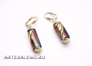 2012-67/maz Серьги с бусиной-цилиндром муранское стекло