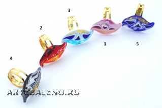 IV03-a Кольцо Волна 3,2 см 5 цветов муранское стекло