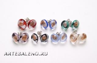 RD02-O Серьги 7 цветов со спиральным узором муранское стекло