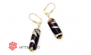 2012-67/maz(2) Серьги с бусиной-цилиндром цвет черно-серый муранское стекло