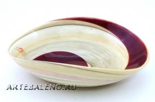 Yalos 9193 Блюдо миньон 18x14x5 см дизайн Avorio rosso муранское стекло