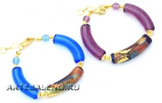2012-67/maz Браслет с бусинами-тубами 2 цвета муранское стекло