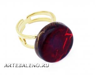 Арт.01 красный - кольцо круглое диам.1,8см муранское стекло