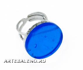 Арт.02 бирюзовый - кольцо круглое диам.1,8см муранское стекло