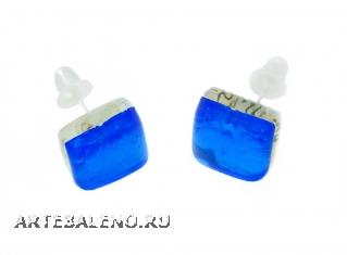Арт.02 бирюзовый - серьги-гвоздики 1x1 см муранское стекло