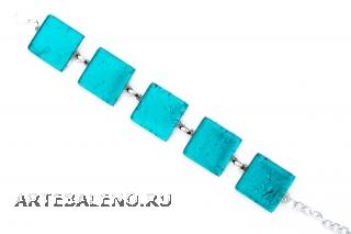 Арт. 02 морская волна - браслет с 5 элементами 2х2 см