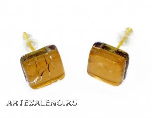 Арт.01 золотой - серьги-гвоздики 1x1см