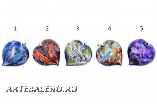 CV07 Подвеска в форме сердца Северное сияние муранское стекло 5 цветов