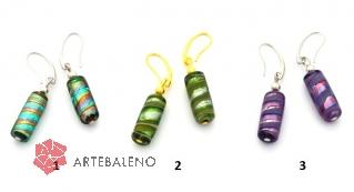 2015-13/maz Серьги Парамарибо с бусиной-тубой муранское стекло