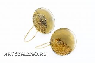 RS31 Серьги Грани цвет золото муранское стекло