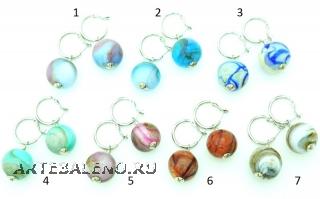 Vac/O Soffiato(4) Серьги дутые в форме шара биколор муранское стекло