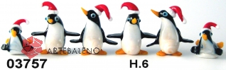 03757 Пингвины стеклянные 6 см сет 6 шт