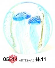 SM5514 Статуэтка Аквариум с пузырьками и двумя медузами диам.11 см