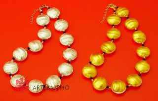 S547MOD Колье Classic 45+5 см золото и серебро муранское стекло