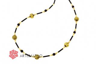 2019-16/maz Колье черно-золотое 66 см муранское стекло