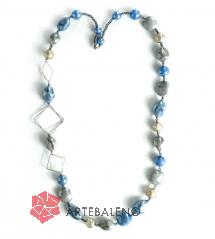 GM0023 Peggy Колье длинное L 80см цвет голубой муранское стекло